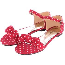 [KITTCATT] レディース 水玉模様 リボン付き靴 フラットサンダル 歩きやすい靴 レディース サンダル アンクルストラップ 可愛いシューズ サイズ:(24cm,レッド)