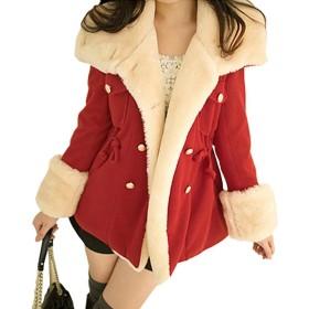 EASONDDD レディース コート ウール ジャケット 裏ボア付けジャケット 着痩せ もこもこ レディース アウター 秋 冬 ジャケット 通勤 通学 厚手 長袖 カジュアル 無地 大きいサイズ