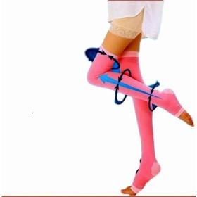 睡眠靴下 妊娠中の女性水腫腸 血行改善 膝上ストッキング 圧力ソックス ふくらはぎマッサジ (ピンク)