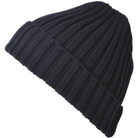 CHARM ニット帽 帽子 [ フリーサイズ/ブラック ] コットン ストレッチ リブ ビーニー ワッチ (コットン100%)