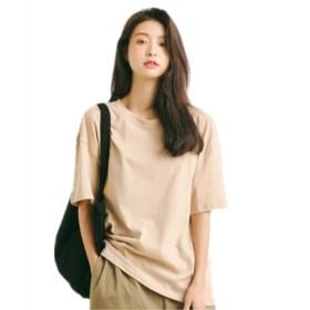 (リアルスタイル) Real Style レディース tシャツ ゆったり 半袖 パステル カットソー 白 黒 無地 かわいい 大きいサイズ