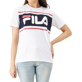 FILA(フィラ) ライン入りバイカラーロゴTシャツ FL1566 レディース ホワイト:F