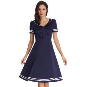 レディース ビンテージ ドレス スリム 着痩せ 通勤 上品 カジュアル ドレス 紺色 #1 M