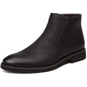 [OceanMap] チェルシーブーツ メンズ サイドゴア ビジネスブーツ ショートブーツ ウイングチップ ブーツ 秋冬 防寒 防水 防滑 サイドゴアブーツ おしゃれ 本革 ハイカット イングランド風 革靴 ブラック 黒 グレー 灰 ブラウン 茶