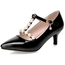 [ウンファッション] 女性閉口細いヒール真珠エナメルパンプス ブラック 24.0cm