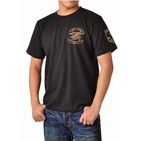(スワットオリジナル) SWAT ORIGINAL メンズ Tシャツ 半袖 ミリタリー マーク リー クロス バックプリント(クロス)6.2oz M ブラック×ゴールド