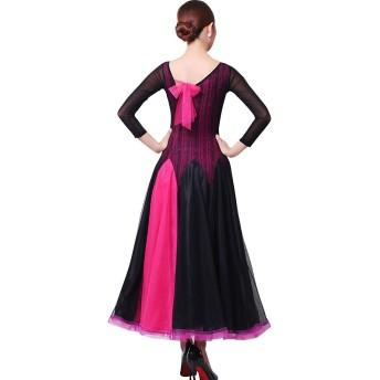 バックリボン レース柄 ロングドレス