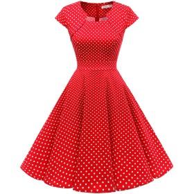 Homrain クリスマス衣装 パーティードレス 50年代 ワンピース カップ袖/7分袖 結婚式 ワンピース おおきいサイズ スイングワンピース レッド小柄ドット Lサイズ