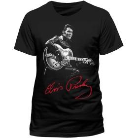 SMURAB The Hillbilly Cat Elvis Presley Elvis メンズ/レディース Tシャツ/夏服 スポーツ Tシャツ ブラック/半袖
