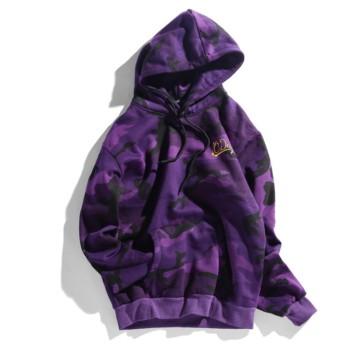 長袖パーカー 欧米風フード 付きファッション 秋 冬 ジップジャケットカップル 男女兼用通勤 通学 (迷彩紫, XXL)