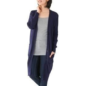 [クロスマーベリー] ロング カーディガン コットン ライトアウター ニットチュニック 長袖 きれいめ コーデ シンプル デザイン おしゃれ ゆったり 大人 カジュアル レディース 女性 ミセス ガールズ 大きいサイズ (W10 ネイビー 3L)