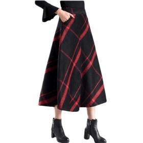 卓上棉品 半身スカート ロングスカート スカート ボトムス ロング丈 Aライン チェック柄 大裾幅 おしゃれ 通勤 OL バー デイリーに大活躍