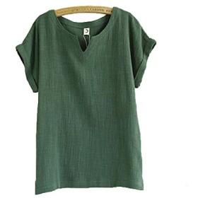 Vcbpq Tシャツ レディース トップス カットソー 無地 シンプル 半袖 麻 カラー(モスグリーンL)