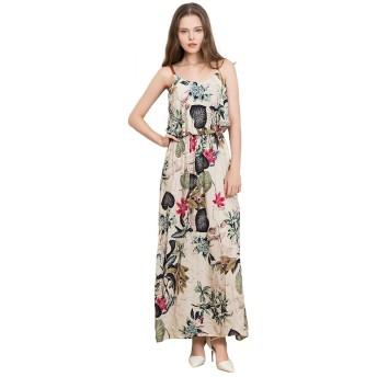 ZYHOUSE Women's Summer Sleeveless Chiffon Beach Floral Prints Dress Party Wedding Long Dress