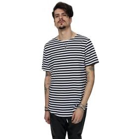 (ピゾフ)Pizoff メンズ 半袖Tシャツ ストライプ柄 シンプル おしゃれ ロングTシャツY1724-Black-XXL