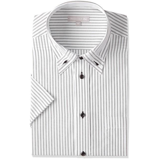 [ドレスコード101] 半袖ワイシャツ (ボタンダウン 形態安定) ワイシャツ メンズ ビジネス SHIRT-ZA ZA028 ホワイト(ストライプ) S