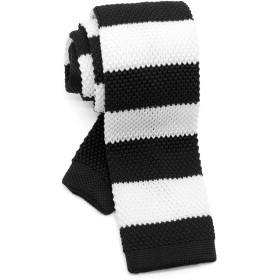 [ダブリューアンドエム] ニットタイ ナロータイ ニット ネクタイ 洗濯 可能 2トーン ボーダー 縞 模様 柄 ブラック ホワイト 黒 白 モノクロ