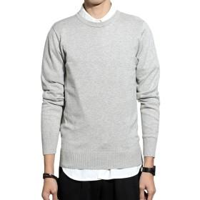セーター ニット メンズ 純色 トップス コットン ストリート 綿 長袖 大きいサイズ 薄地 春秋冬