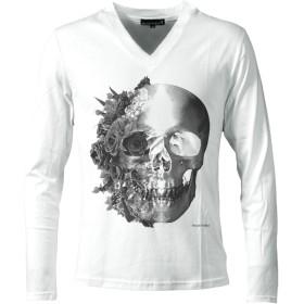 (ブラックバリア) BLACK VARIA Tシャツ Vネック 長袖 バラ 薔薇柄 スカル ドクロ Tシャツ ホワイトモノトーン zkk023ls L