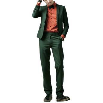 INVACHI メンズ ビジネススーツ スリムスーツ 大きいサイズ オフィス 紳士 秋物 カジュアル グリーン