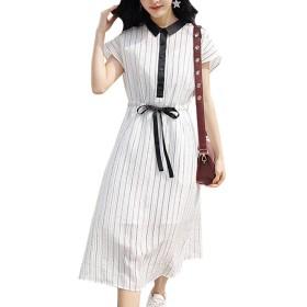 ワンピース きれいめ インナー セット ストライプ ロング ミモレ丈 半袖 襟つき リボン 黒 ブラック 白 ホワイト 全1色 (S)