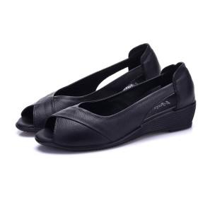 [サニーサニー] サンダル レディース オフィス ナースシューズ 軽い 快適 大きいサイズ 歩きやすい クッション ローヒール 疲れない 痛くない 安定感 柔軟性抜群 夏 通気性 屈曲性 看護師シューズ べたんこ 婦人靴 黒