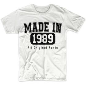 Made In 1989 All Original Parts お誕生日 男性用 Tシャツ 白 Large