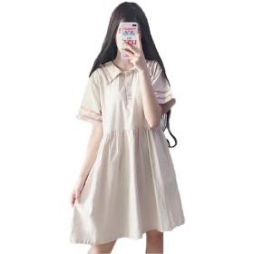 SHUNYI ゆったり ワンピース Aライン レディース 森ガール系 可愛い セーラー襟 半袖 フリーサイズ ファッション杏色F