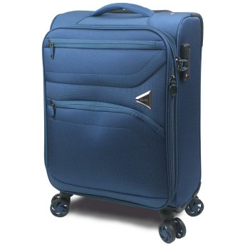 【SUCCESS サクセス】 スーツケース キャリーケース 3サイズ( 大型Lサイズ・中型Mサイズ・小型Sサイズ ) TSAロック 超軽量ソフトケース ソフィアライト (小型 Sサイズ 57cm, ネイビーブルー)