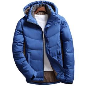 (フェイスコジー) Facecozy メンズ ダウンジャケット 登山用コート 冬服 防風 保温 防寒 フート付き 上着 長袖 仕事着 出勤 (青, L)