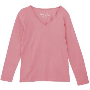 (パークガール)PARK GIRL コットン100%フライス素材無地Vネック長袖Tシャツ レディース 大きいサイズ S/M/L/LL/3L 5628300000 (LL, ローズ)