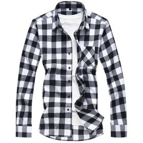 Mirroryou メンズ シャツ ワインシャツ チェック柄 格子 長袖 スリム 秋冬 カジュアル 綿シャツ コットン 上着 トップス 大きいサイズあり 折り襟 軽量ストレッチ 柔らか 着心地抜群 M-3XL 普段着 全3色