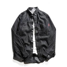 (habille) メンズ デニムシャツ ストライプ柄 カジュアル 長袖 シャツ shirt デザイン アメカジ おまけ付(2XL/ブラック)
