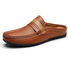 [ジョイジョイ] ビジネスサンダル メンズ スリッパ ビジネスシューズ ドライビング 蒸れない 通気性 軽量 レザー ビジネス 外履き ビター系 カジュアル 滑り止め 夏用 オシャレ 紳士靴 かかとなし サボサンダル ブラウン