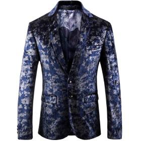 YUNCLOS メンズ スーツジャケット ビジネスジャケット カジュアル ゆったり テーラードジャケット 紳士 上質 演出 宴会 礼服 派手 ラグジュアリー 花柄 全19柄