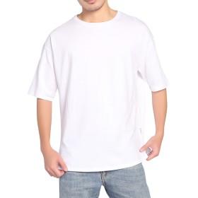 BIGHAS Tシャツ 半袖 純色 クルーネック ビッグシルエット シンプル 無地 メンズ 吸汗 速乾 おしゃれ ゆったり 男性用 カジュアル アレルギー対策済 (S(日本サイズ160~167相当), ホワイト)