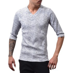 ジョーカーセレクト(JOKER Select) メンズ Tシャツ 半袖 7分袖 長袖 無地 Vネック カットソ- ブラック
