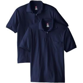 Hanes メンズ 半袖ポロシャツ ジャージーポケット付 ( 2枚組) US サイズ: X-Large カラー: ブルー