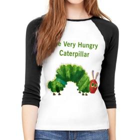はらぺこあおむし 絵本 Tシャツ レディース スポーツ 無地 シンプル 長袖 七分袖 コットン クルーネック ゆったり おしゃれ Tシャツ