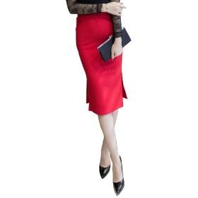 (ロンショップ)R.O.N shop スリット タイト スカート ひざ下 ハイウエスト フォーマル オフィス カジュアル 黒 赤 (レッド,L)
