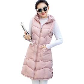 YINGCANレディース フード付き ダウンベスト 厚手 軽量 ノースリーブ ダウンコート 無地 韓国風 ファッション アウター(ピンク9)