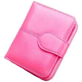 レディース 二つ折り 財布 ミニ ウォレット 大容量 お札 小銭 カード コンパクト 収納 (ピンク)