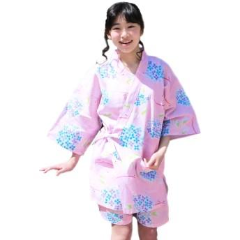 甚平 レディース ピンク地に水色の紫陽花 M L 変わり織り女物甚平上下2点セット
