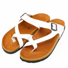 [ナチュラルスタッフ] 歩きやすい サンダル メンズ レディース兼用 コンフォートサンダル PUレザー スポーツサンダル ・ ビーチサンダル オフィスや普段履きでも便利 45(28.5cm) C-type ホワイト