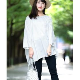 アンドジェイ 2WAYサイドスリットビッグシルエットドルマンTシャツ レディース ホワイト M 【ANDJ】