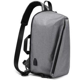 ボディバッグ・ワンショルダーバッグ メンズ 斜め掛け 左右肩がけ対応 USBポート付き 15インチまで対応可能 軽量 撥水 ビジネスバッグ スポーツバッグ 黒 グレー(1025) (グレー(1025))