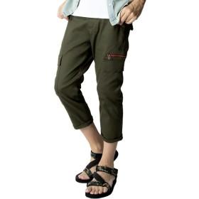 [ジェネレス] カーゴパンツ メンズ スリム ストレッチ スキニー スリムカーゴ ズボン 全6色 L 74.カーキ・クロップド @ バーゲン (74.カーキ・クロップド-L)
