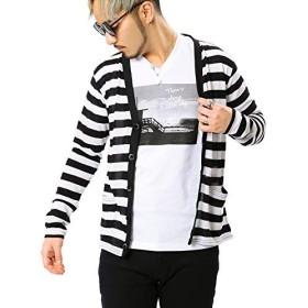 JIGGYS SHOP カーディガン メンズ 薄手 サマ―ニット ニットソー UV対策 冷房対策 春夏 大きいサイズ S ブラック×ホワイト