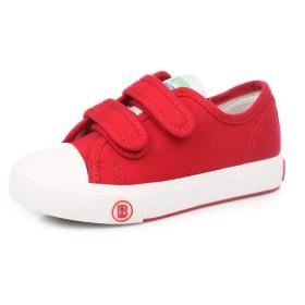 E-FAK キッズ子供いキャンバス運動靴男の子女の子滑り止めマジックテープ付け靴可愛い通気軽量履きやすい通学カジュアル(29 = 19.5センチメートル(靴の長さ)、レッド)
