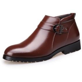 [WEWIN] ブーツ メンズ ウィンターブーツ スノーブーツ ビジネスシューズ 革靴 冬用綿靴 ジッパー 裏起毛 防寒 厚底 防滑